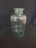 Szép antik zöles,kékes jelzett 8 literes huta befőttes üveg.