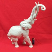 Ritka Nagyméretű Német Heubach Porcelán Elefánt Figura. 45 cm.