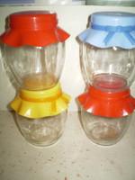 Üveg zárható műanyag tetejű fűszertartók 4 db.