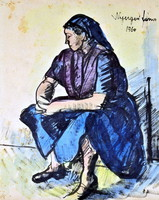 János Nyergesi (1895 - 1982) is a student of Kernstok! Woman in a blue skirt!