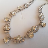 Silver plated crystal necklace.