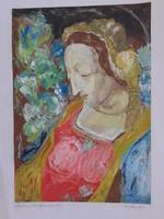 Guardian rose gyula: madonna, marked oil cardboard