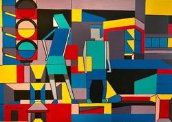 Pető bell ++ 70x50 metropolitan life ++ modern abstract ++ acrylic painting