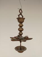 Antique 6 Arm Bronze Jewish Saturday Sabbath Electrically Mounted Chandelier Judaica 4178
