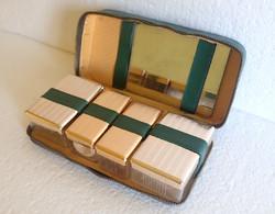 Old retro men traveler toilet razor set shaving set in zippered case