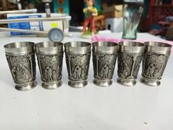 12 darabos zinn pohár készlet