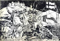 Mihály Gácsi (1926 - 1987) with the lieutenants of György Dózsa! Rare etching!
