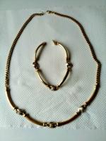 Arany ékszer szett, nyaklánc, nyakék karkötővel, 48,2 gramm ( sárga)