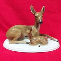 Német Fasold & Stauch Bock Wallendorf Fekvő Őzek porcelán figura.