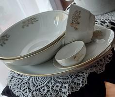 Mz-Moritz Zdekauer Czech/Czechoslovak/50+years old porcelain tableware,gold border gold cornflower