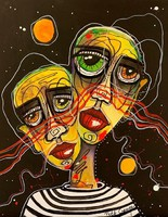 Pető bells ++ 50x40 two souls in one body ++ modern figural ++ acrylic painting
