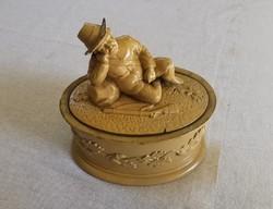 Tobacco holder antique, with original lid (!), 19th Century; monarchy; majolica; 29 cm; hunter scene