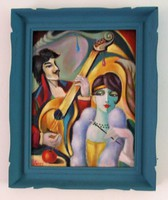 Oil painting by the singer / art deco / seres sándor