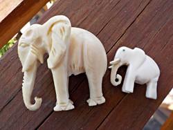 2 pcs. Hand carved bone elephant statue