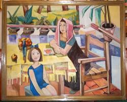 Mohy Sándor Családi jelenet című festménye