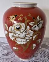 Arany festésű, 26 cm magas Wallendorf váza