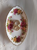 Angol porcelán tálka cottage rose felirattal