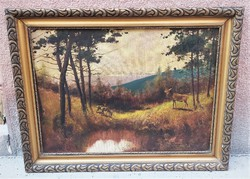 Marked oil on canvas, painting of deer framed inside forest