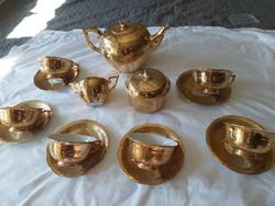 Herendi egyedi 18 k al aranyozott teás készlet. Koszorúsné festette.