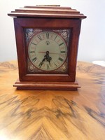 Artistic clock in wooden house with secret little drawers inside. It works flawlessly! 33 cm high