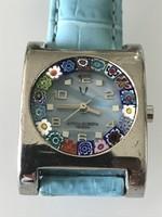 Millefiori watch with leather strap, antica murrina