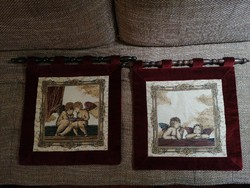 Velvet framed tapestry wall protectors, murals on carved wooden supports. In excellent condition! Sellers together!