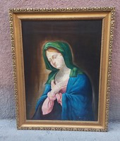 Marked oil on canvas religious themed framed painting