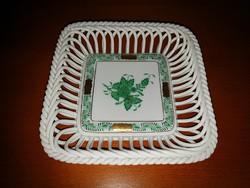 Herend green apponyi wicker serving bowl