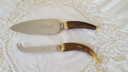 Agancs nyelű sajtkés és pite kés
