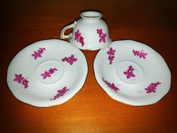 Herend antique coffee cup + 2 saucers