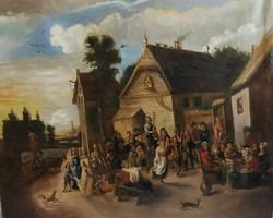 Large-scale antique Flemish painting