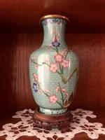 Kínai rekeszzománc váza, festett, talapzattal