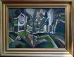 Mizser Pál: Faluvége képcsarnokos festmény most olcsóbban