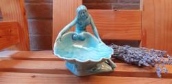 Zsolnay szecessziós kagylós nő alapmázas