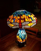 Beautiful large dragonfly tiffany lantern collection piece