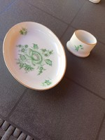 Herend green apponyi bowl and toothpick holder