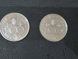 2db 1992-es Ezüst 200 Forint.