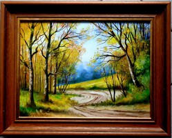 In a gallery-quality frame - forest road - landscape - oil painting