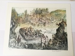 Szabó vladimir: colored etching entitled ferry