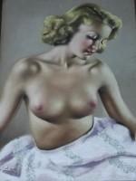 Diósi Sándor (1900-1949): Női fél akt gyönyörű eredeti alkotása