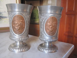 2 Very nice tin cup with red copper inlay!