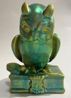 Zsolnay eosin glazed porcelain scientist owl figure