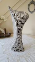Gyönyörű,áttört,krómozott váza 46cm