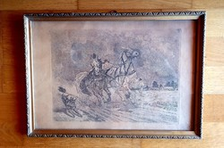 Vágtató lovas szekér, 43x30 üvegezett keretben