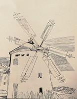 Ernő Zórád: windmills. Ink drawing paper.