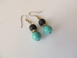 Beautiful turquoise lava stone earrings with glittering intermediates