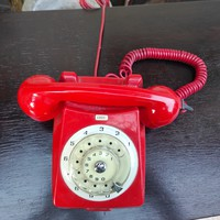 Red retro telephone, color