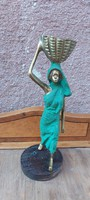 Afrikai női alak réz gyertyatartó, 35 cm, 3 Kg