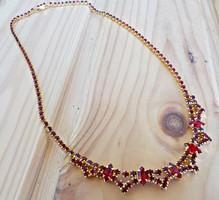 Old gilded Czech garnet stony necklace