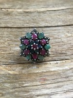 Old silver ring with rubies, sapphires, emeralds, marcasite stones